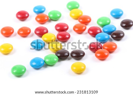 Row of Colorful Chocolate Candies - stock photo