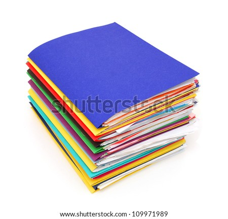 Row of colorful folders with documents - stock photo