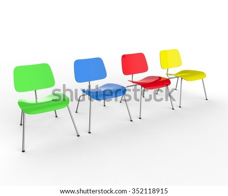 Row Of Colorful Office Chairs - stock photo