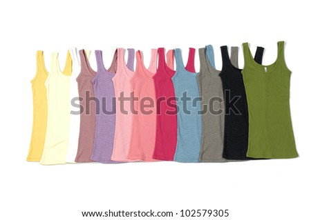 Row of colorful shirts clothes