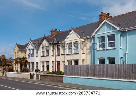 Row of colorful terraced houses - stock photo