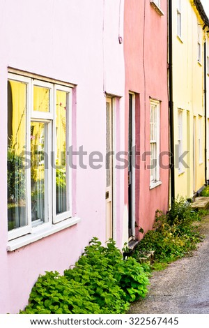 Row of colorful town houses in the UK - stock photo