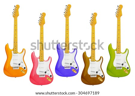Row of Colourful Electric Guitars on White Background - stock photo