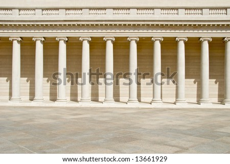 Row of columns in a Neoclassical Building - stock photo