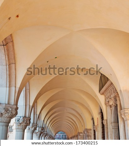 row of columns in a San Marco square arcade  - stock photo