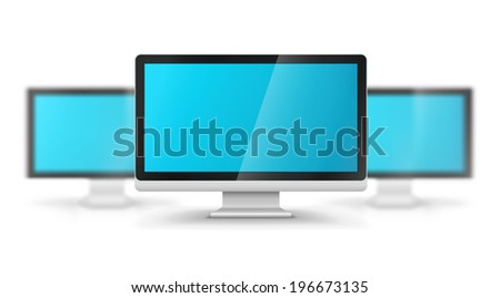 row of computer displays. Rasterized illustration. - stock photo