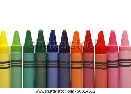 Row of Crayons - stock photo