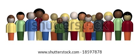 Row of culturally diverse people. - stock photo