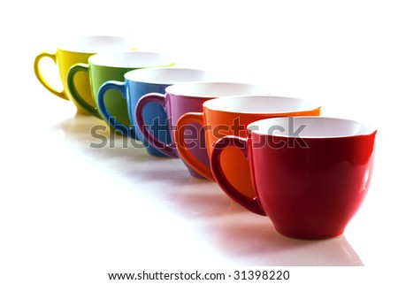 Row of cups - stock photo