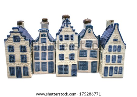 Row of Delft blue houses isolated on white - stock photo