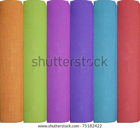 row of different colored books isolated on white background - stock photo