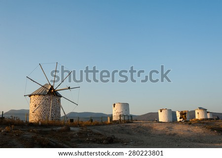 Row of disused windmills overlooking Bodrum in Turkey. - stock photo