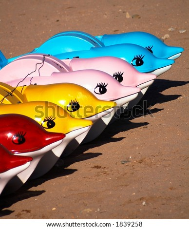 Row of dolphins - stock photo