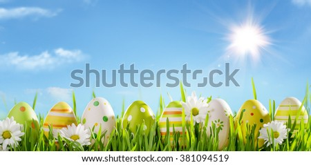 Row of Easter Eggs with Daisy on Fresh Grass - stock photo