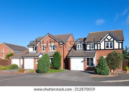 Row of elegant english houses - stock photo