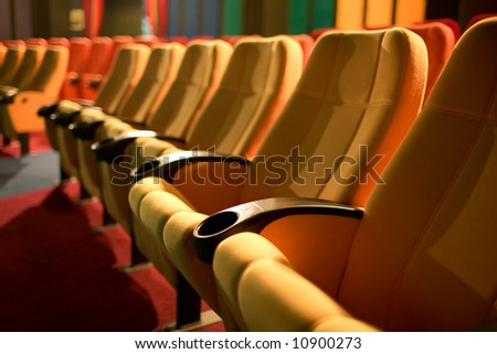 Row of empty chairs - stock photo