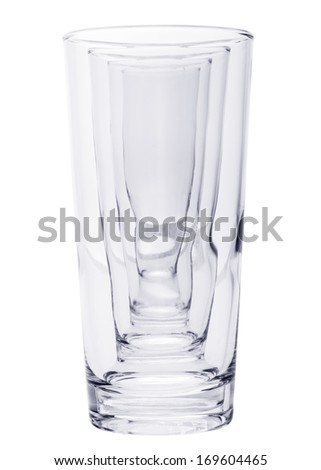Row of empty glasses over white background - stock photo