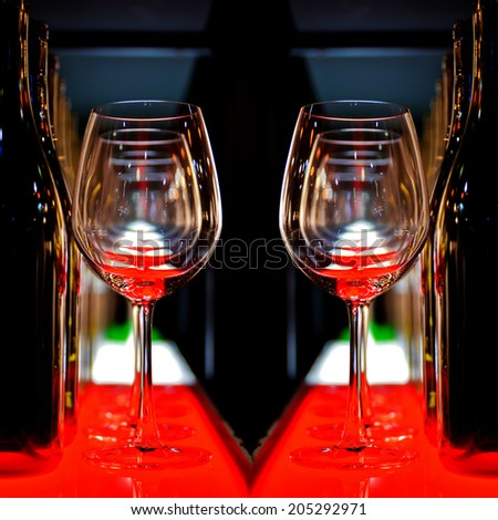 Row of empty wine glass on the bar
