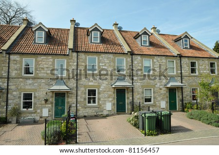Row of English Town Houses - stock photo