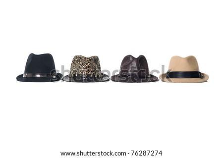 Row of fashion hat on white - stock photo