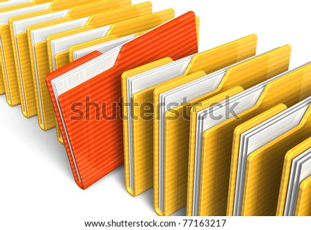 Row of file folders - stock photo