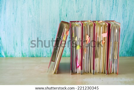 row of file folders, free copy space  - stock photo