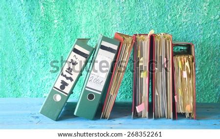 row of file folders,free copy space - stock photo