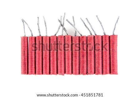 Row of firecrackers isolated on white background.Firecrackers isolated - stock photo