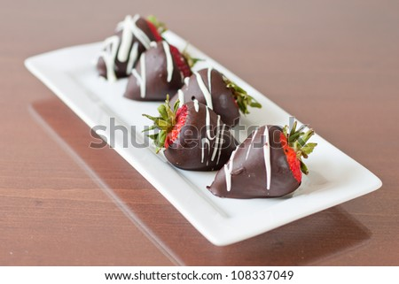 Row of five chocolate covered strawberries focus on the one facing the other way with a shallow depth of field - stock photo