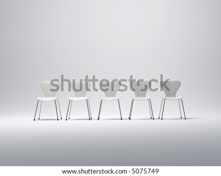 Row of five white plastic and metal chairs in a neutral background