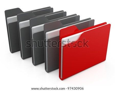 Row of folders and files. - stock photo