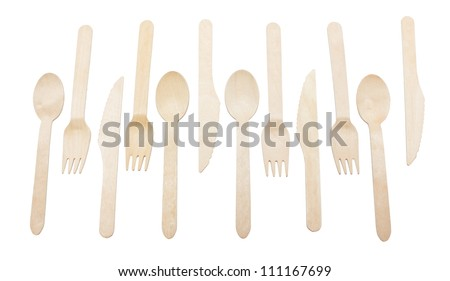 Row of forks and spoons isolated on white background.