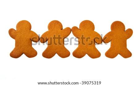Row of four Gingerbread Men touching hands  isolated over white background - stock photo