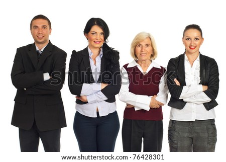 Row of four smiling business people standing with arms folded isolated on white background