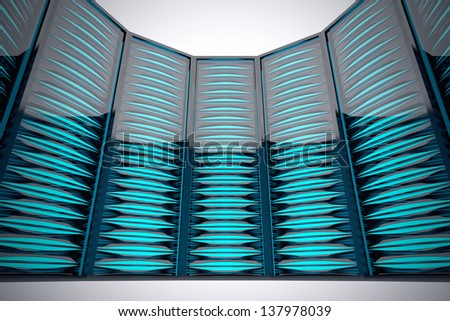 Row of futuristic rack mounted servers in data center. Bright blue LEDs. - stock photo