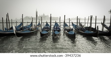 Row of Gondolas in Venice Italy