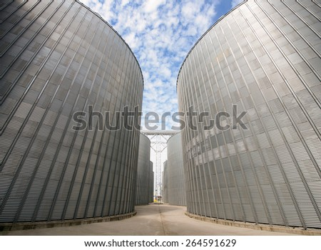 Row of granaries for storing wheat and other cereal grains - stock photo