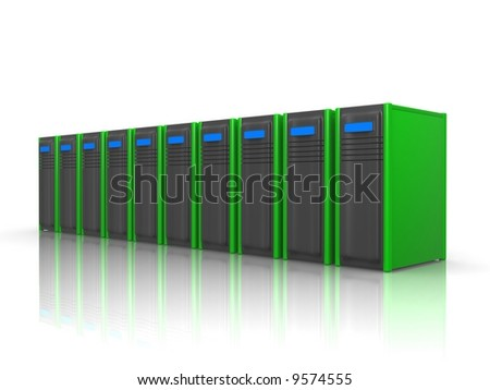 row of green servers