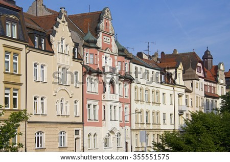 Row of historical 19th century houses in Bamberg, Germany - stock photo