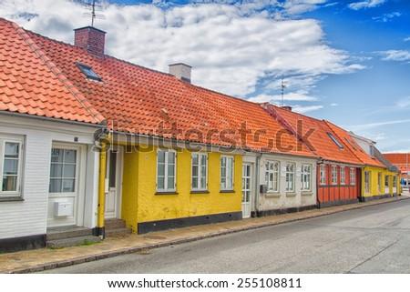 Row of houses, Bornholm, Denmark - stock photo
