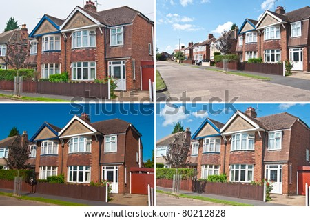 Row of houses detached & semi detached urban houses in the UK - stock photo