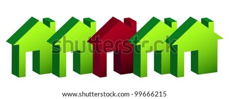 row of houses illustration design over white - stock photo
