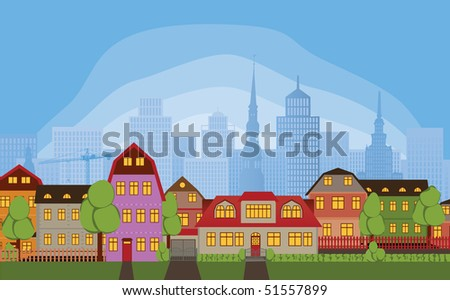 Row of houses in quiet neighborhood district of large busy town - stock photo