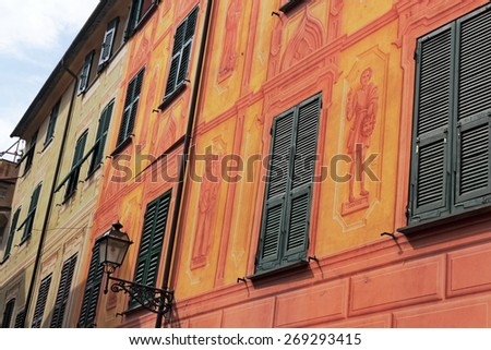 Row of houses in Rapallo - stock photo