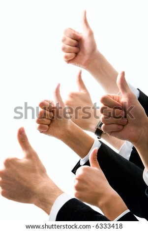 Row of  human hands showing sign of okay - stock photo