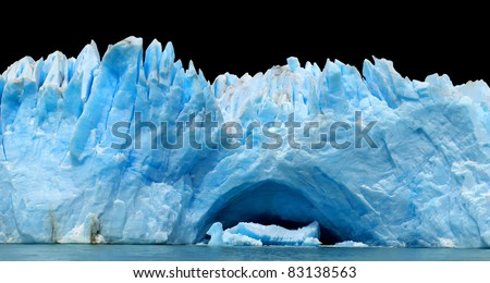 Row of icebergs isolated on black - stock photo