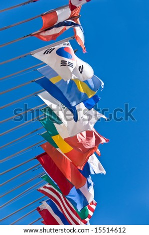Row of international flags - stock photo