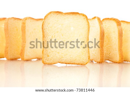 Row of just baked toasts - stock photo