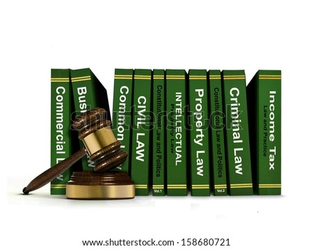 Row of Law Books and Wooden Gavel - stock photo