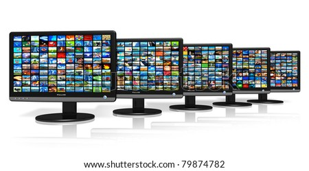 Row of LCD displays with picture galleries - stock photo